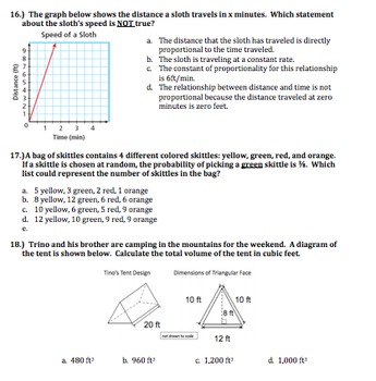 7th Grade Math Final Exam Common Core Aligned w/ Answers
