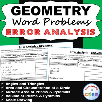7th Grade GEOMETRY Word Problems -  Error Analysis  (Find the Error) Common Core