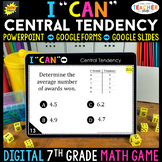 7th Grade Math Game DIGITAL   Central Tendency   Distance