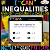7th Grade Math Game DIGITAL   Inequalities   Distance Learning
