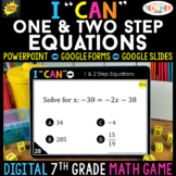 7th Grade Math Game DIGITAL | One & Two Step Equations | D