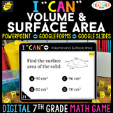 7th Grade Math Game DIGITAL   Volume & Surface Area   Distance Learning