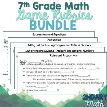 7th Grade Math Game Rubric Bundle