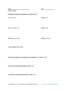 7th Grade Math: Generating Equivalent Expressions Quiz Pack