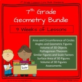 7th Grade Math -Geometry Bundle - Volume, Surface Area, Circles and Modeling