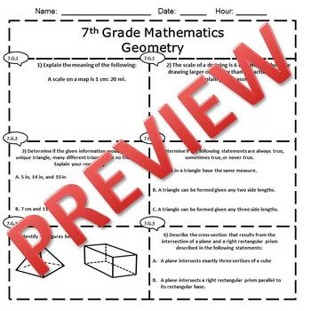7th Grade Math Geometry Assessment/Exam/Test/Review {EDITABLE}