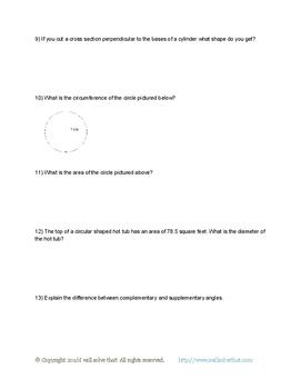 7th Grade Math: Geometry Unit Test