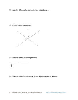 7th Grade Math: Geometry Unit Test