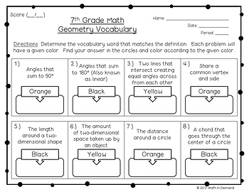 7th Grade Math Geometry Vocabulary Coloring Worksheet by Math in Demand