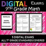7th Grade Math Exams/Tests for Google Classroom, Digital Grading {Paperless}