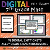 7th Grade Math Exit Tickets/Exit Slips for Google Classrom,Auto Graded & Digital