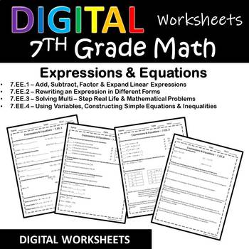 7th Grade Math Google Classroom Worksheets/Homework, Digital Grading {Paperless}