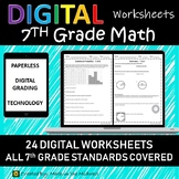 7th Grade Math Worksheets/Homework for Google Classroom, Paperless