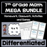 7th Grade Math Bundle - Differentiated Worksheets, Task Cards, and Games