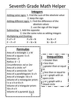 7th Grade Math Helper