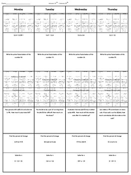 7th Grade Math Homework #7