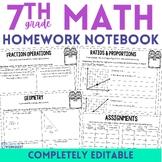 7th Grade Math Homework - A Full Year of Editable Homework