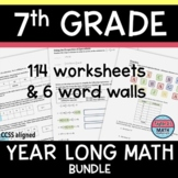 7th Grade Math Review Worksheets / Guided Notes / Homework