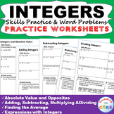 INTEGERS Homework Practice Worksheets - Skills Practice with Word Problems