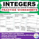 INTEGERS Homework Practice Worksheets - Skills Practice wi