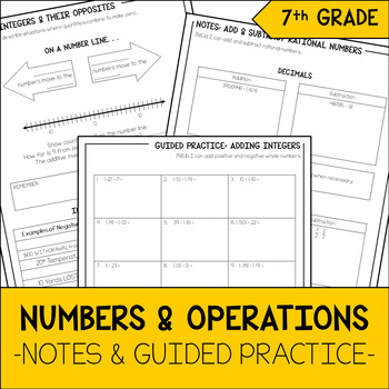 7th Grade Math Integers & Rational Numbers Notes & Guided Practice