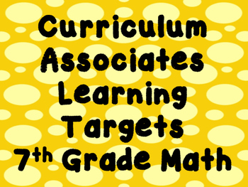 7th Grade Math Learning Targets