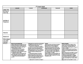 Lesson Plan Template - 7th Grade Math with MAFS Common Core Standards