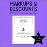 7th Grade Math Markup & Discount Scavenger Hunt