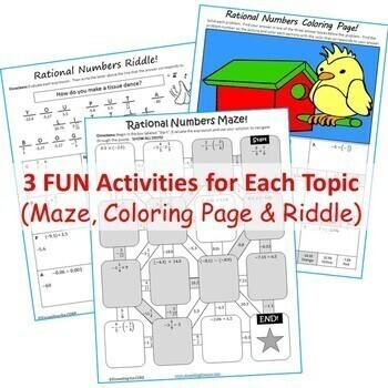 7th Grade Math Mazes, Riddles & Coloring Pages BUNDLE (Fun MATH Activities)