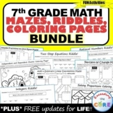 7th Grade Math Mazes, Riddles & Color by Number BUNDLE | P