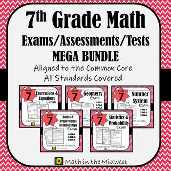 7th Grade Math Test Bundle By In The Midwest