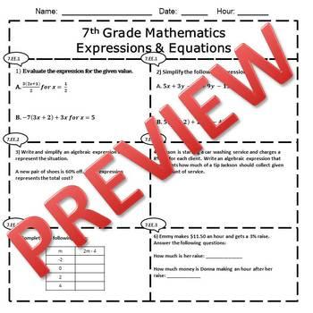 7th Grade Math Test Bundle {Common Core Assessments}