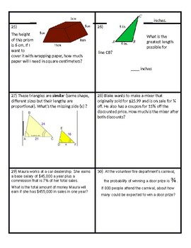 7th Grade Math - Mixed Review! (EDITABLE)