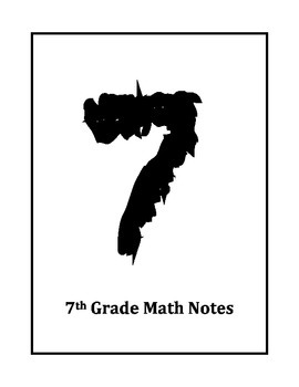 7th Grade Math Notes Title Page and Table of Contents