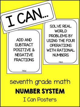 7th Grade Math Number System I can Posters
