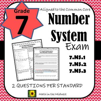 7th Grade Math Number System Assessment/Exam/Test