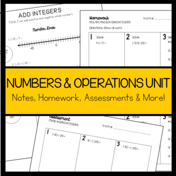 7th Grade Math Number System Notes Pack