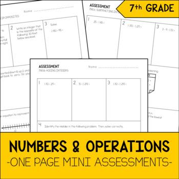 7th Grade Math Numbers & Operations Mini Assessments