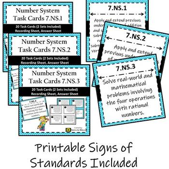 7th Grade Math Number System Task Card Bundle 7.NS.1, 7.NS.2, 7.NS.3