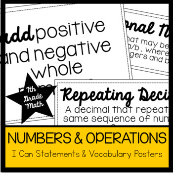 7th Grade Math Numbers & Operations I Cans & Vocabulary Posters