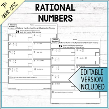 7th Grade Math Number Systems Common Core Mini Assessments