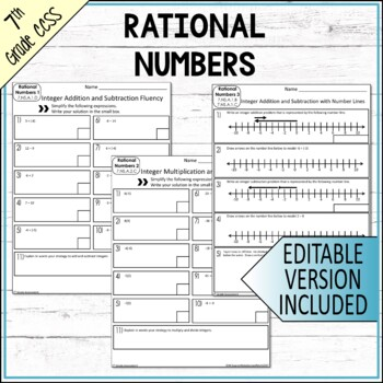 Number Systems Assessments 7th Grade Math Common Core EDITABLE