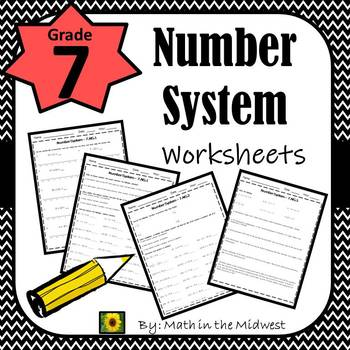 7th Grade Math Number System Worksheets By Math In The Midwest Tpt