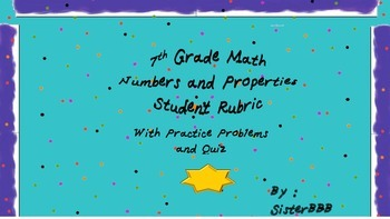 7th Grade Math  Numbers and Properties Common Core NS1-Practice and Quiz