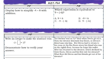 7th Grade Math Numbers and Properties Common Core -Quiz
