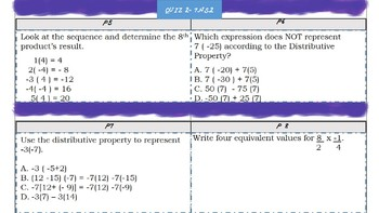 7th Grade Math Numbers and Properties Mini-Assessment-NS2