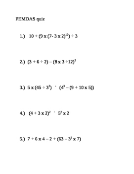 7th Grade Math - PEMDAS Order Of Operations LESSON PLAN