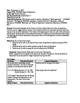 7th Grade Math - PEMDAS Order Of Operations LESSON PLAN