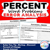 PERCENTS Word Problems -  Error Analysis  (Find the Error)