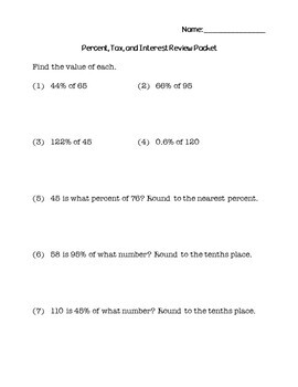 7th Grade Math Percent, Tax, and Interest Review Packet
